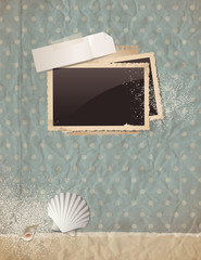 blue scrapbooking background with photos and shells on paper