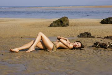 beautiful sexy girl posing on the beach