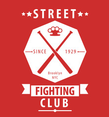 Street Fighting Club emblem with crossed bats and knuckles