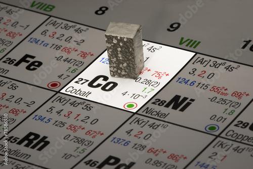 canvas print picture Kobalt auf Periodensystem der Elemente