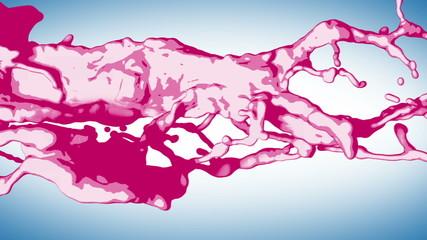 Stylized Splashes of Pink Liquid