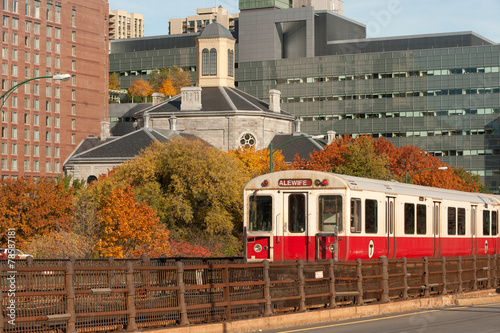 Red line subway train with Boston on background - 78587181