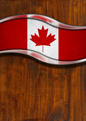 Wooden and Metal Background with Canadian Flag