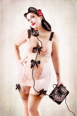 Girl with Retro Lingerie and Vintage Background #3