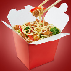 Perfect wok noodles box with chopsticks