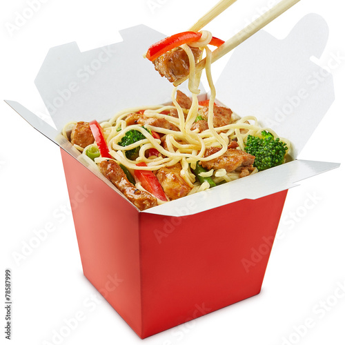 Plexiglas Kruidenierswinkel Perfect wok noodles box with chopsticks