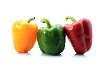 capsicum/bell peppers isolated on white background
