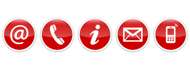 Contact Us – Round glossy red sticker buttons