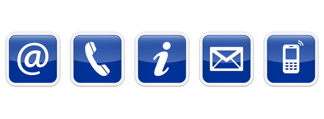 Contact Us – Square glossy blue sticker buttons