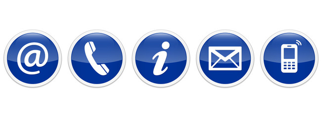 Contact Us – Round glossy blue sticker buttons