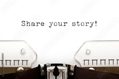 Share Your Story Typewriter Poster