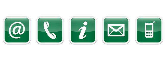 Contact Us – Square glossy green sticker buttons