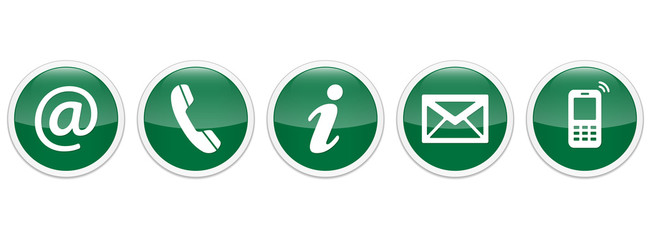 Contact Us – Round glossy green sticker buttons