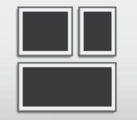 Realistic picture frames vector set illustration background