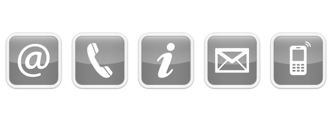 Contact Us – Square glossy gray sticker buttons