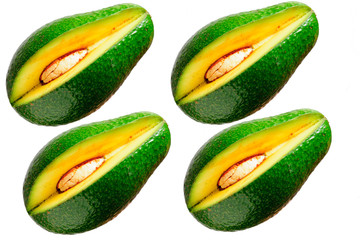 set di 4 pezzi di mango sfondo bianco soggetto isolato