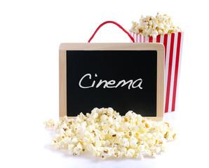 Popcorn and word Cinema.