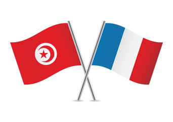 French and Tunisian flags. Vector illustration.