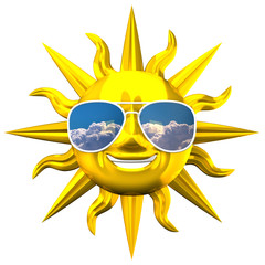 Golden Smiling Sun With Sunglasses