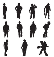 firefighter silhouettes set