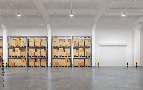 Fotobehang Industrial geb. 3d rendered warehouse with many racks and boxes
