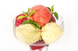 sorbet refreshment, plate peach mint bowl berry