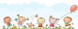Happy kids running
