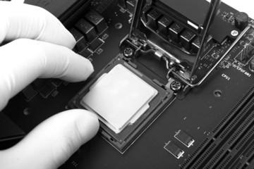 Human hand holding modern processor