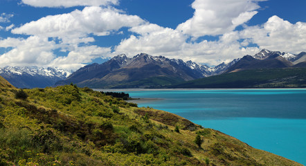 View of Southern Alps over Lake Pukaki, New Zealand