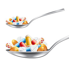Spoon with medicines isolated on white vector