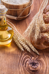 food and drink concept ears of wheat loaf sweet bun  bottle with