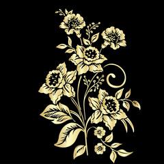 Flowers narcissus on black background, vector illustration