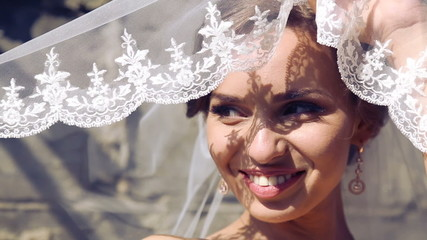 Portrait of a beautiful bride on the wedding day.