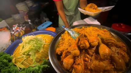 Thai food  fried chicken with rice sale in Thailand street