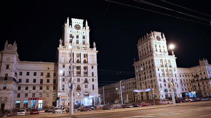 Gates of the city of Minsk - the eleven storey towers of the Sta