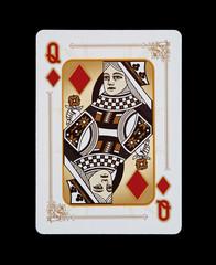 Spielkarten - Poker - Karo Dame im Spiel