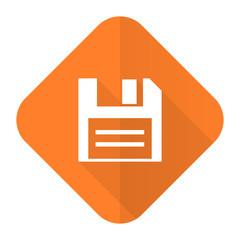 disk orange flat icon data sign