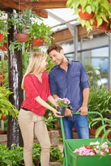 Paar kauft Blumen im Gartencenter