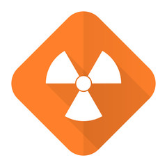 radiation orange flat icon atom sign