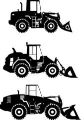Wheel loaders. Heavy construction machine. Vector illustration