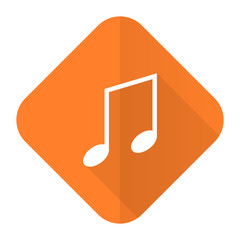 music orange flat icon note sign