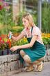Frau arbeitet im Garten im Frühling