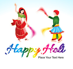 happy holi background with traditional indian couple