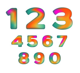 Colorful Numbers with  iridescent color