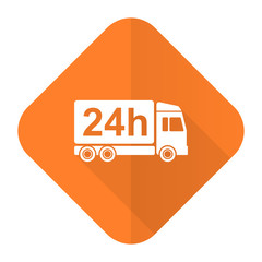 delivery orange flat icon 24h shipping sign