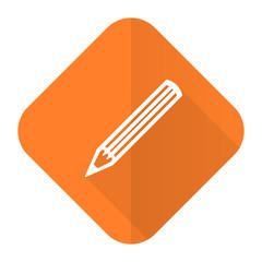 pencil orange flat icon
