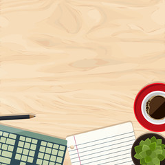 Workplace with a part of keyboard, cup of coffee, paper, plant a