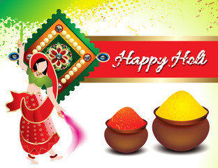 holi festival background with traditional girl