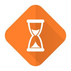 time orange flat icon hourglass sign