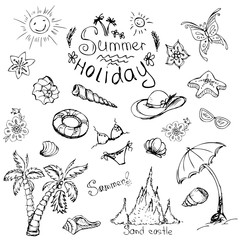 Vector set of summer travel and vacation emblems and symbols